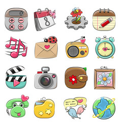 Cute icon set for web and mobile app vector