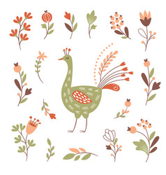 decor floral elements bird set on white vector image
