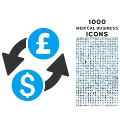 Dollar Pound Exchange Icon with 1000 Medical vector