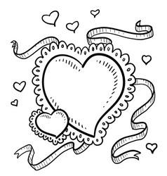 Doodle heart fancy vector