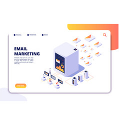 Email marketing isometric concept mail automation vector