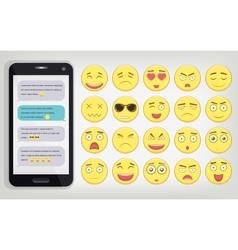 Emoticon set with Phone Emoticon for web site vector