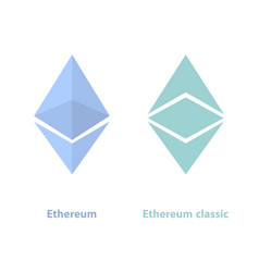 Ethereum and ethereum classic crypto currency vector