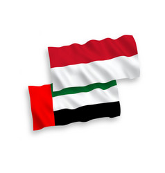 Flags indonesia and united arab emirates on a vector