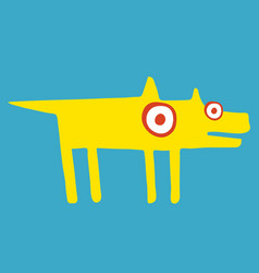 Funny yellow dog stands frozen in suspense vector