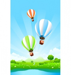 green landscape with balloons vector image