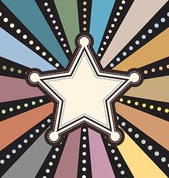 Grunge star on retro sunbeam vector