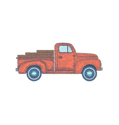 Hand drawn engraved retro vintage truck vector