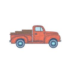 hand drawn engraved retro vintage truck vector image