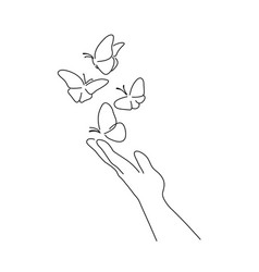 Hand with butterfly on finger line art drawing vector