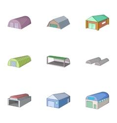Hangar icons set cartoon style vector