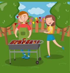 Happy couple having outdoor barbecue young man vector