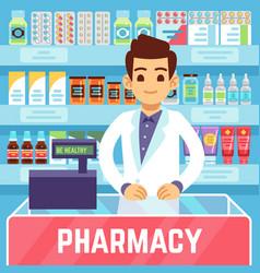 Happy young man pharmacist sells medications vector