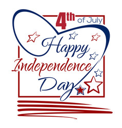 Independence day lettering card 4th of july vector