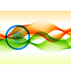indian flag design made with in wave style vector image