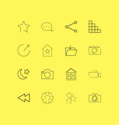 interface linear icon set simple outline icons vector image