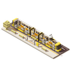 Isometric low poly low-floor tram vector