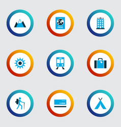 Journey icons colored set with sunny mastercard vector