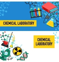 Laboratory Banners Set vector image