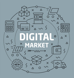 linear digital market vector image