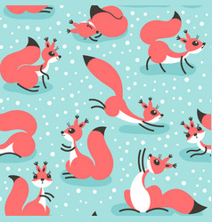 little cute squirrels under snowfall seamless vector image