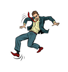 Man falls slippery businessman with a vector