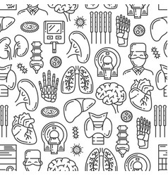 medical organs and joints line seamless pattern vector image