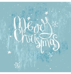 Merry christmas phrase on frosty blue background vector