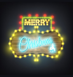 merry christmas wooden neon billboard vector image