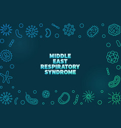 Middle east respiratory syndrome colored thin line vector