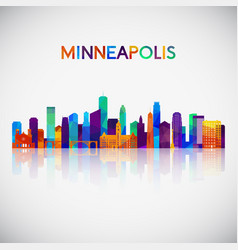 Minneapolis skyline silhouette in colorful vector