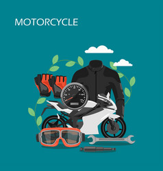 motorcycle accessories flat style design vector image