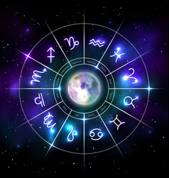 Mystic zodiac wheel with star signs in neon style vector