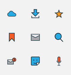 Network icons colored line set with search vector