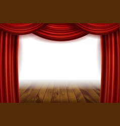 Open red velvet movie curtains with white screen vector