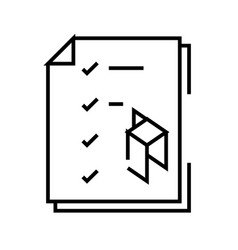 Packing plan line icon concept sign outline vector