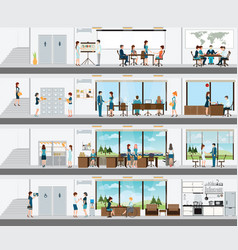 people in the interior of the building vector image
