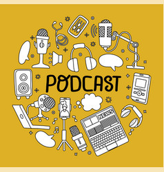Podcast round badge with handwritten lettering vector