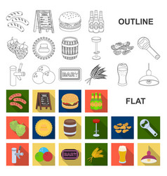 Pub interior and equipment flat icons in set vector