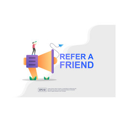 Refer a friend concept megaphone with refer a vector