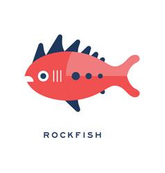 rockfish sea fish geometric flat style design vector image