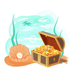 sea and treasures poster vector image