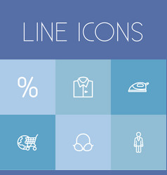 set of 6 editable shopping outline icons includes vector image vector image