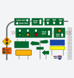 set of road sign or traffic light vector image