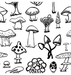 Set of silhouettes cute cartoon mushrooms on white vector image