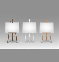 set of wooden brown white sienna easels vector image