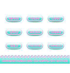 set rounded and glossy hawaiian buttons vector image