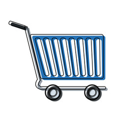 shopping cart of side view empty supermarket e vector image