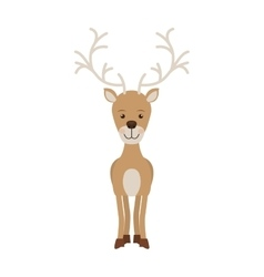Silhouette color with standing reindeer vector