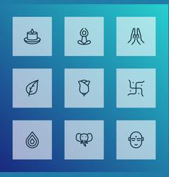 Spiritual icons line style set with hindu human vector
